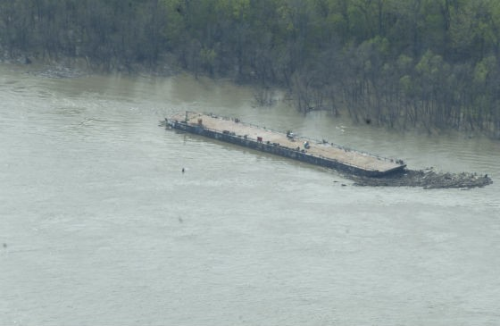 A barge on the loose after last week's accident. - COURTESY COAST GUARD