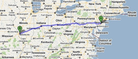 Careful, Google Maps warns that the 898-mile route from Bensalem to St. Louis has tolls.