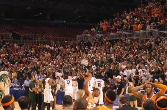 Michigan State joyous celebration in the back, Tennessee agony of defeat in the front. - PHOTO BY KEEGAN HAMILTON