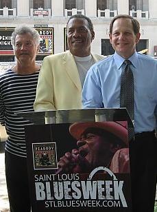Left to right: Blues musicians Bob Case, Roland Johnson and Mayor Francis Slay. - PHOTO: DIANA BENANTI