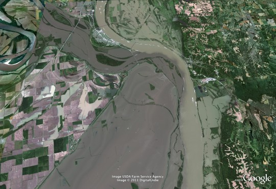 This recent aerial view shows both the Ohio River and the Mississippi River spilling over near Cairo, Illinois. - COURTESY OF GOOGLE AND GEOEYE