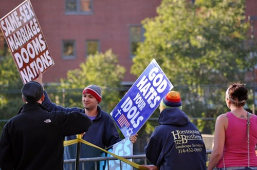 Westboro Baptist Church protests the Cardinals during the World Series. - DANNY WICENTOWSKI