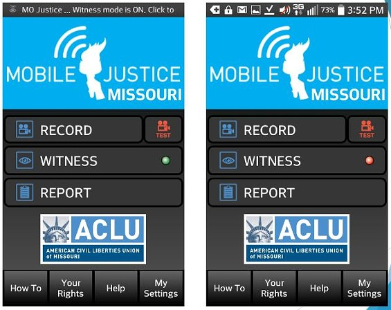 The ACLU of Missouri's new app, with the witness setting turned on (L) and off (R). - ACLU OF MISSOURI