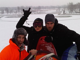 Mark Aaron, Julie Wheat, and Ryan Freeman rockin' the snow day. - PHOTO BY NICHOLAS PHILLIPS