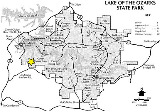 The yellow star marks the location of Party Cove inside the state park. - OZARKS-LAKE.COM