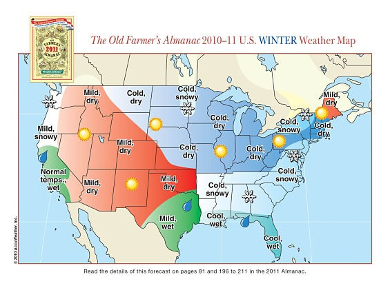 Old Farmers Almanac Winter 2019 Forecast Says It Will Be Warm and Wet