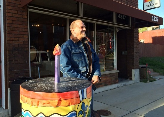 Jim Goebel on a break outside the LGBT Center, where he now volunteers. - LINDSAY TOLER