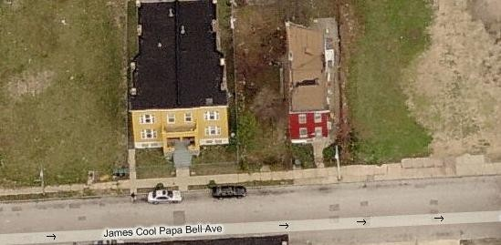 "The two homes remaining on the 2600 block of James ""Cool Papa"" Bell."