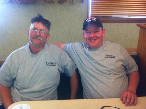 These two guys just ate a 1.5-pound burger and a pound of fries. You can, too. - DOTTIE'S ON FACEBOOK