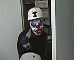 Robber in clown mask caught on camera. - COUNTY POLICE