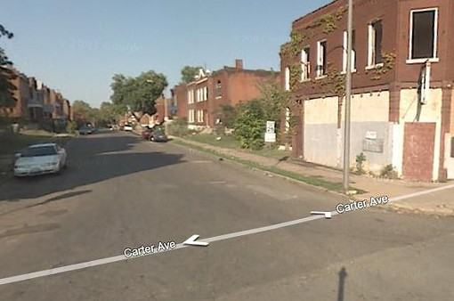 The view of the 4300 block of College from the Carter Ave. - GOOGLE STREET VIEW