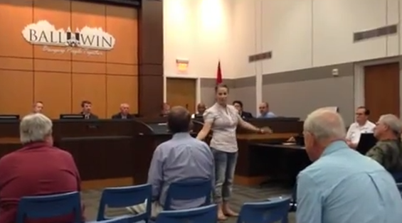 """""""This is what an atheist looks like,"""" Nikki Moungo tells the Ballwin City Council. - YOUTUBE"""