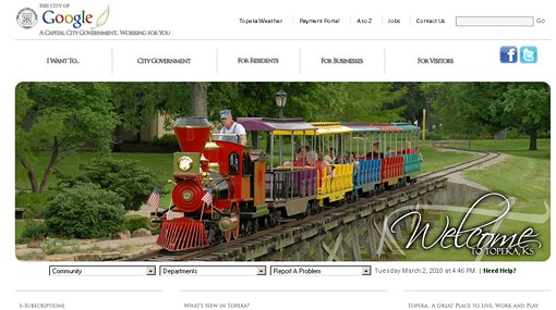 Google, Kansas' new-and-improved city website.