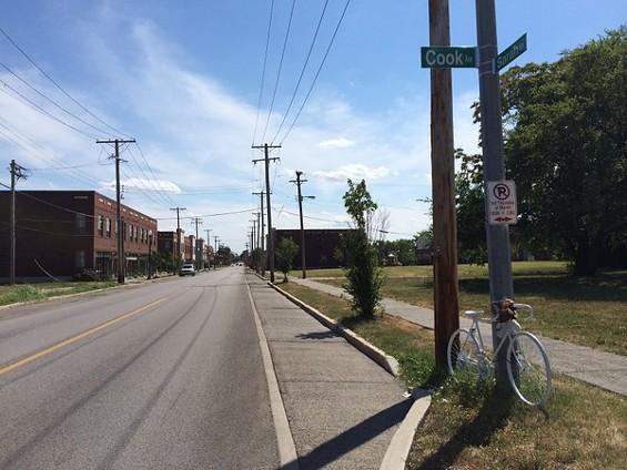 A memorial bike honors Rick Beard's memory at Sarah Street and Cook Avenue. - LINDSAY TOLER