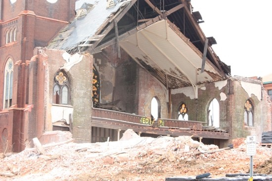 The sanctuary of Bethlehem Lutheran under demolition. - ALL PHOTOS BY CHRIS NAFFZIGER UNLESS OTHERWISE NOTED