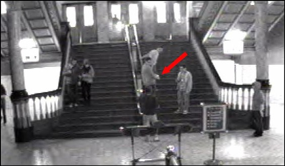 This punk -- possibly drunk from St. Paddy's Day -- is stealing a historic finial from Union Station. - PHOTO SUBMITTED BY UNION STATION
