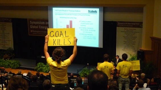 Wash U students had a message for Peabody Energy's Greg Boyce at the Symposium for Global Energy Future - PHOTO BY KEEGAN HAMILTON
