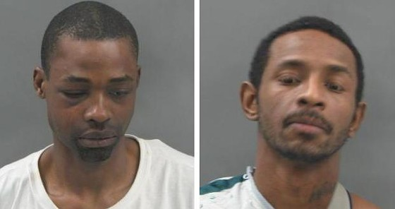 Vernon Collins (left) and David White slipped out of their prison jumpsuits before leaving the Justice Center.