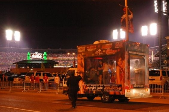"Larry Flynt's ""Stripper Mobile"" causes a stir outside Busch Stadium in April 2010. - RFT PHOTO"