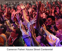 At the Azusa Street Revival, the Los Angeles church where modern-day Christians first began speaking in tongues.