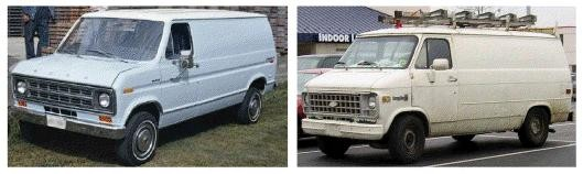 Authorities are searching for an older white van similar to these with a possible ladder on the back doors.