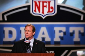 Roger Goodell will be taking the podium very soon to start announcing picks.
