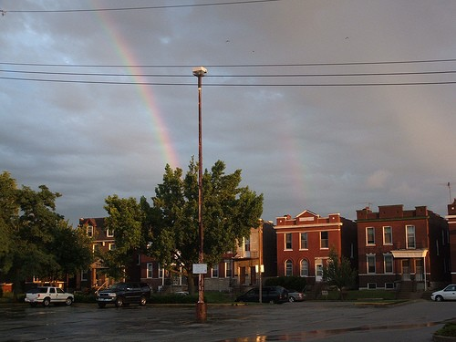 And the heavens rejoice! A double rainbow arcs over South Grand, no doubt in response to its makeover. - FLICKR.COM/PHOTOS/SONGBILL
