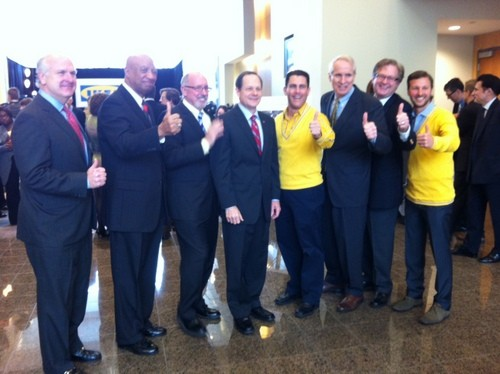 Mayor Slay poses with the IKEA team and other St. Louis officials giving a thumbs up for IKEA. - LINDSAY TOLER