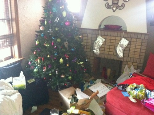 The Plummer's Christmas tree after thieves broke in and stole the gifts - AMY JO PLUMMER