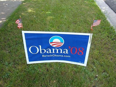The sought-after, $8 Obama yard sign. Flags optional.