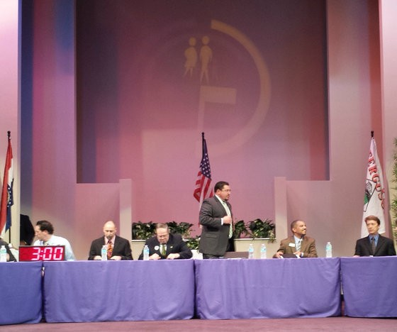Mayor Knowles, center, at Tuesday night's city council meeting at Greater Grace Church. - JESSICA LUSSENHOP