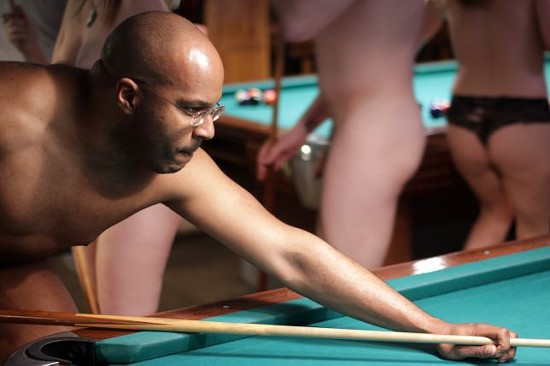 Wraith later used his towel to protect the dignity of this pool table when he needed to mount it for a tricky shot. - DANNY WICENTOWSKI