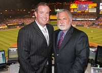 Good announcers, big homers. - MCLAUGHLIN, LEFT, HRABOSKY, RIGHT.
