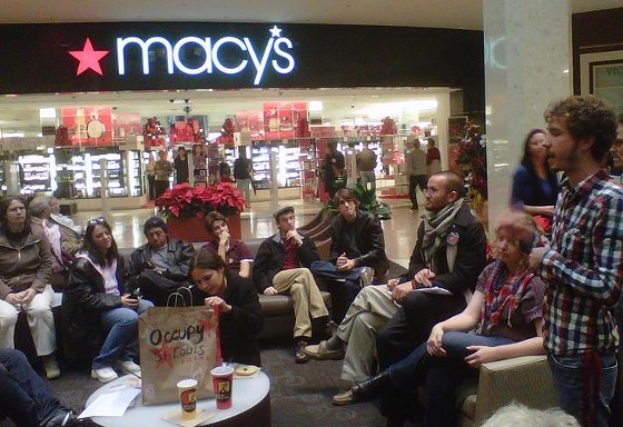 Occupy STL protesters gather outside the Macy's at the Galleria yesterday. - TONY D'SOUZA