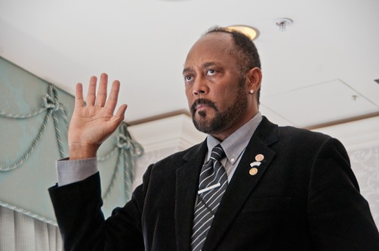 """Kendrick """"ICE"""" McDonald was inaugurated on Thursday as the first black national president in The Society of American Magicians's 112-year history. - CAROLINE YOO"""