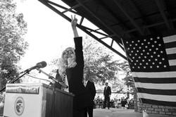 Lady Gaga at Monday's rally. - IMAGE VIA