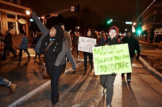 Protesters marched along South Grand. - THEO WELLING