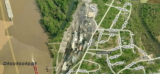What were residential streets surrounding the Doe Run smelter have given way to green space.