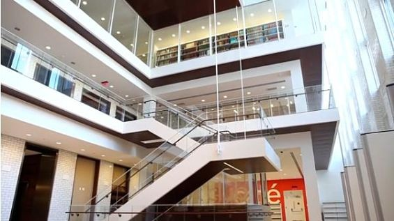 The new atrium of the Central Library, formerly the stack tower.