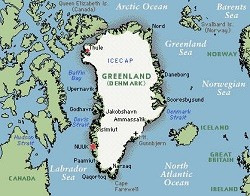 Greenland: The white parts indicate St. Louis-style, white-hot temperatures.