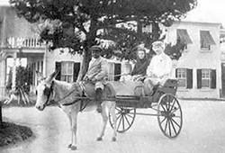 Mark Twain and his jockey enter the on-ramp of I-70, circa 1880.
