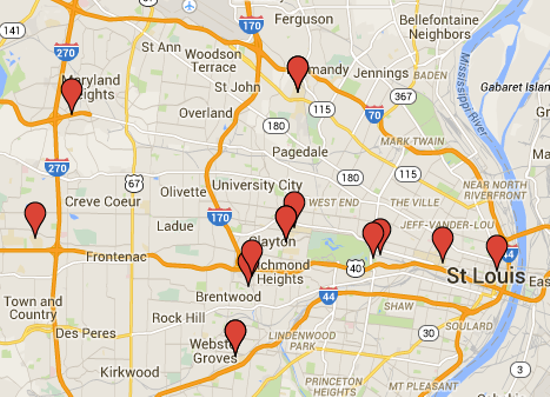 The locations of many of St. Louis' universities and colleges. - GOOGLE MAPS