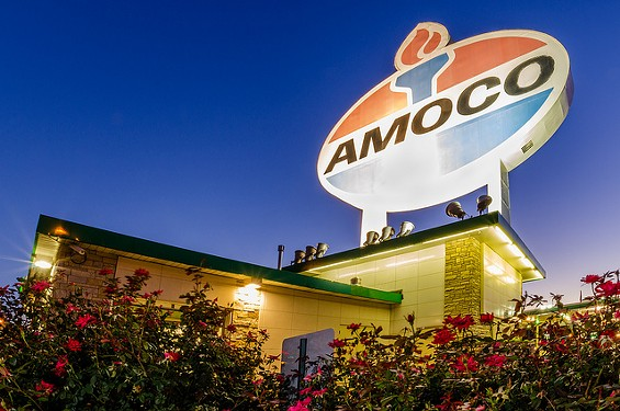 The gas prices are as small as the Amoco sign is large. - PHILLIP LEARA ON FLICKR