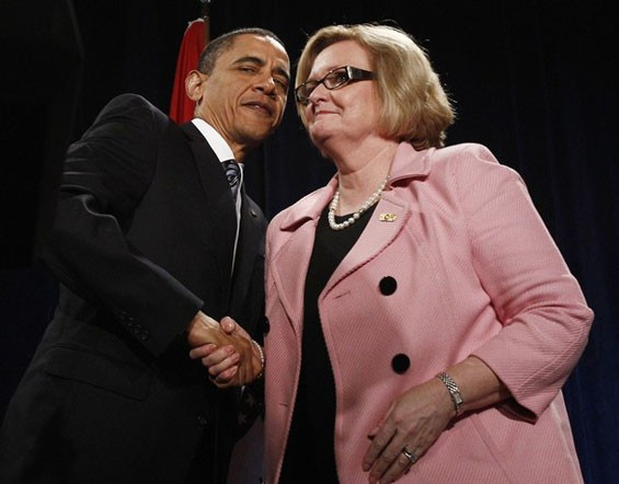 Lobby Missouri Senator Claire McCaskill, an early supporter of now President Barack Obama. - IMAGE SOURCE