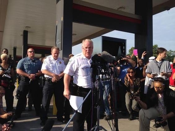 Chief Tom Jackson speaking to reporters last week in Ferguson. - CHAD GARRISON