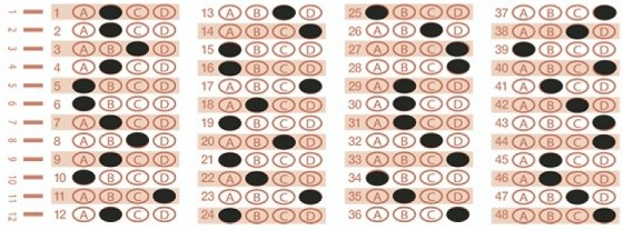 For those who actually penciled in the scantron in the print edition, the answers above are correct.