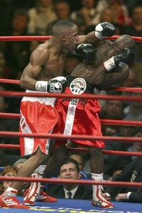 Start spreadin' the news: Devon Alexander (left) takes it to DeMarcus Corley Friday night at Madison Square Garden.