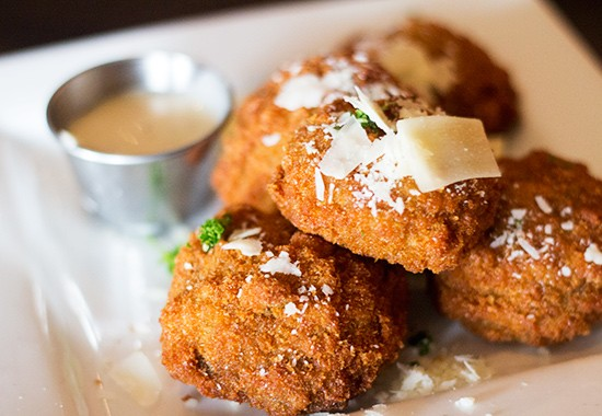 Flash-fried stuffed mushrooms with goat cheese and herbs.