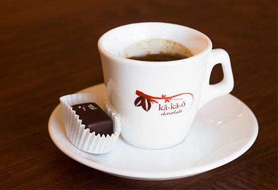 A shot of espresso with a Kakao truffle. | Photos by Mabel Suen