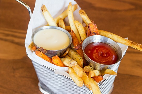 Mixed basket of russet and sweet potato fries.